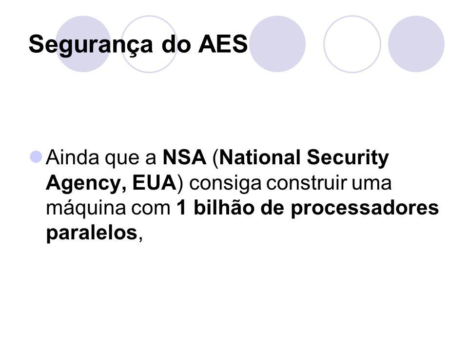 Segurança do AES Ainda que a NSA (National Security Agency, EUA) consiga construir uma máquina com 1 bilhão de processadores paralelos,