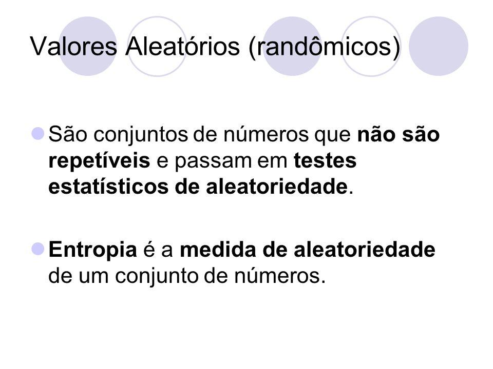 Valores Aleatórios (randômicos) São conjuntos de números que não são repetíveis e passam em testes estatísticos de aleatoriedade. Entropia é a medida