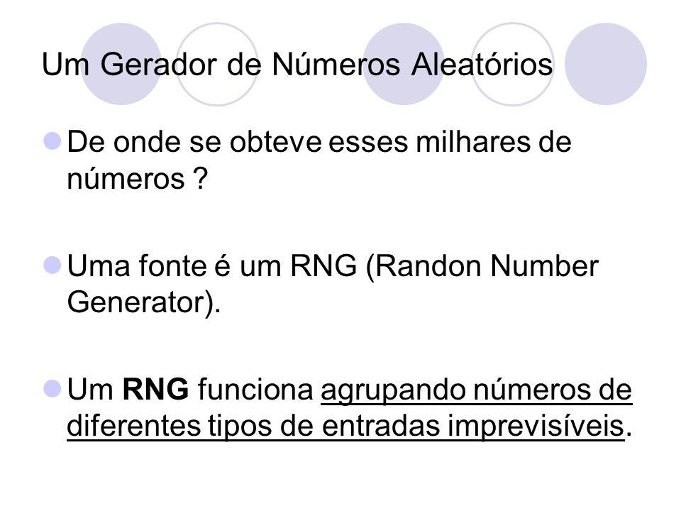 Um Gerador de Números Aleatórios De onde se obteve esses milhares de números ? Uma fonte é um RNG (Randon Number Generator). Um RNG funciona agrupando