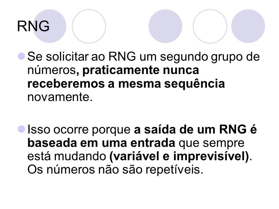 RNG Se solicitar ao RNG um segundo grupo de números, praticamente nunca receberemos a mesma sequência novamente. Isso ocorre porque a saída de um RNG