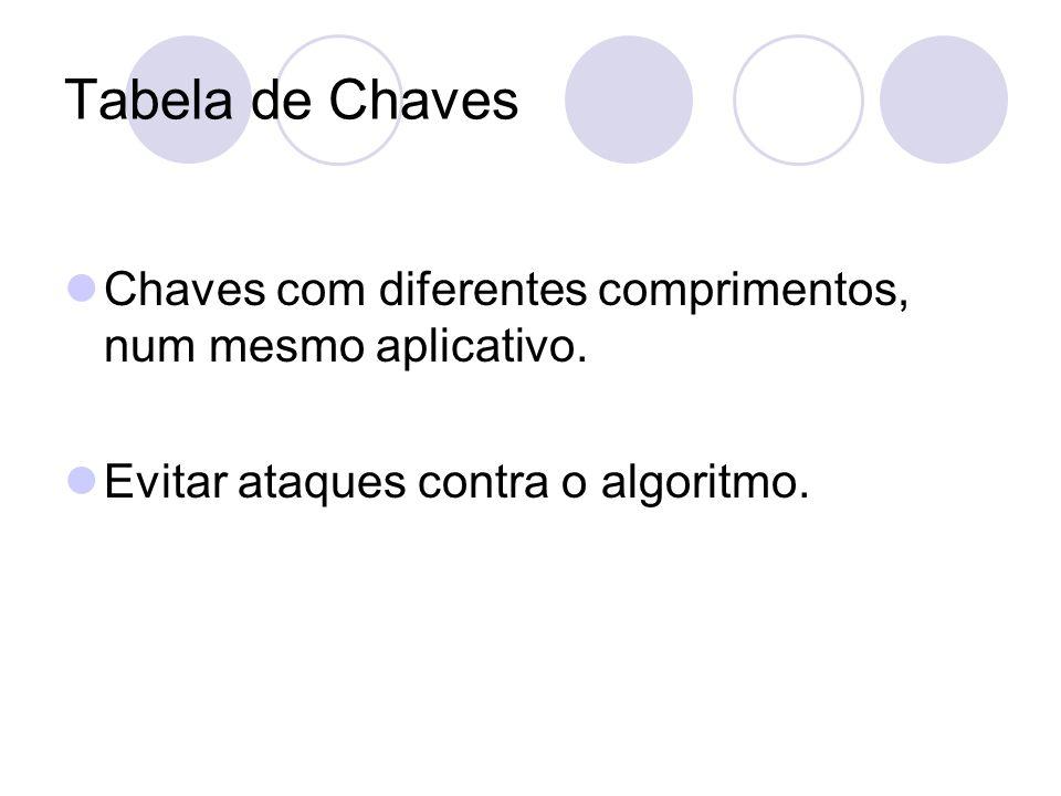 Tabela de Chaves Chaves com diferentes comprimentos, num mesmo aplicativo. Evitar ataques contra o algoritmo.