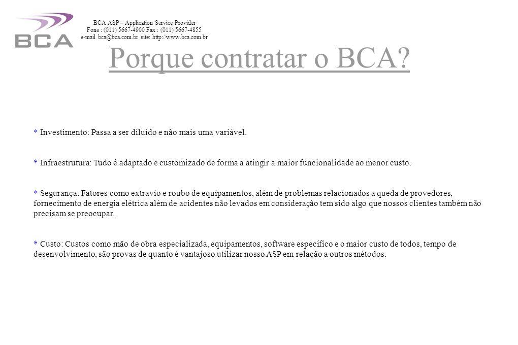 Sistema consistido de Pedidos Sistemas inteligentes de Pós-venda/Reposição Consultoria e análise de seu modelo de negócio Implantação de Just-in-Time Business Inteligence e Data Mining Comunicação com seus clientes Divulgação diferenciada de seus produtos Soluções BCA ASP – Application Service Provider Fone : (011) 5667-4900 Fax : (011) 5667-4855 e-mail bca@bca.com.br site: http://www.bca.com.br
