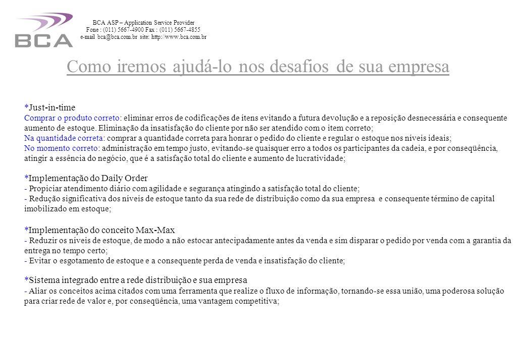 Recepção e sala de reuniões BCA ASP – Application Service Provider Fone : (011) 5667-4900 Fax : (011) 5667-4855 e-mail bca@bca.com.br site: http://www.bca.com.br