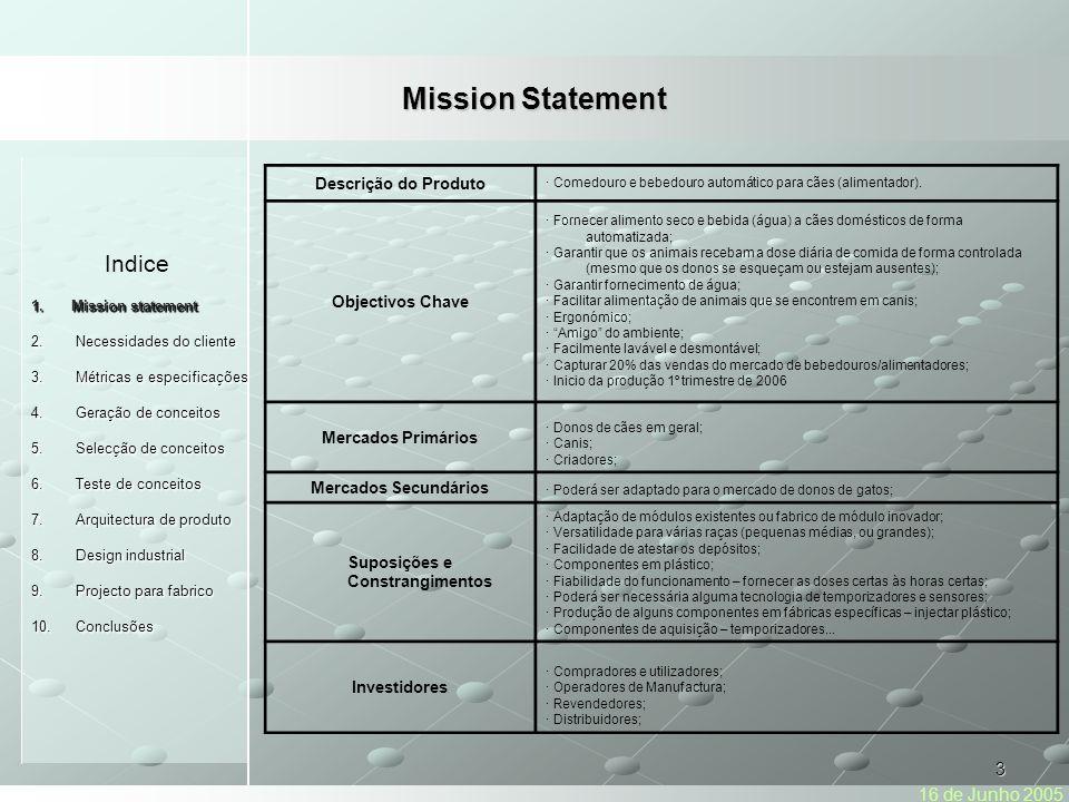 14 Indice 1.Mission statement Necessidades do cliente 2.