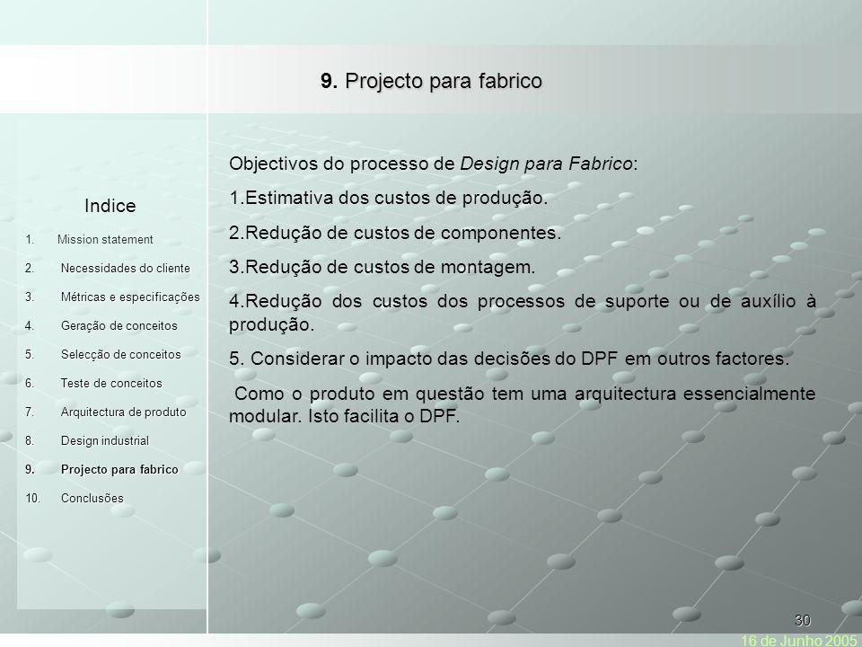 30 Projecto para fabrico 9.