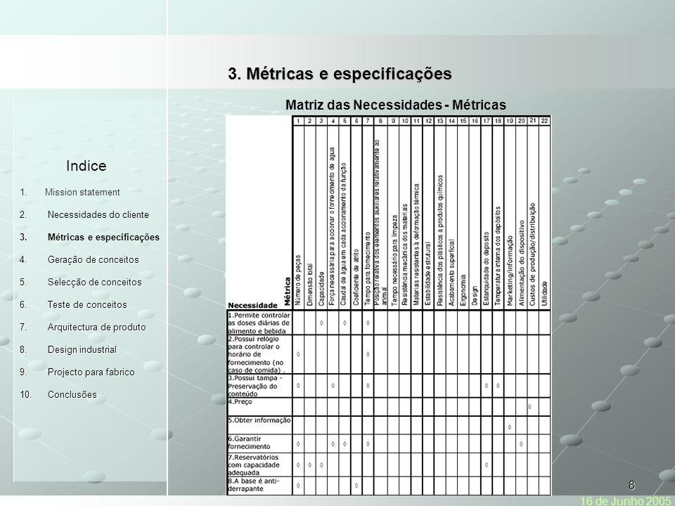8 Indice 1.Mission statement 2.Necessidades do cliente 3.