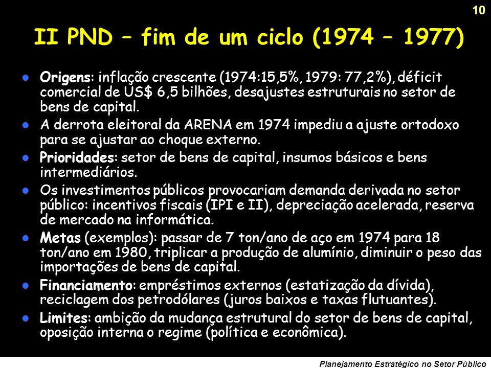 9 Planejamento Estratégico no Setor Público O I PND, do milagre à crise. (1968 –1973) Crescimento médio do PIB de 11, 2%/ano. Criação de 231 empresas