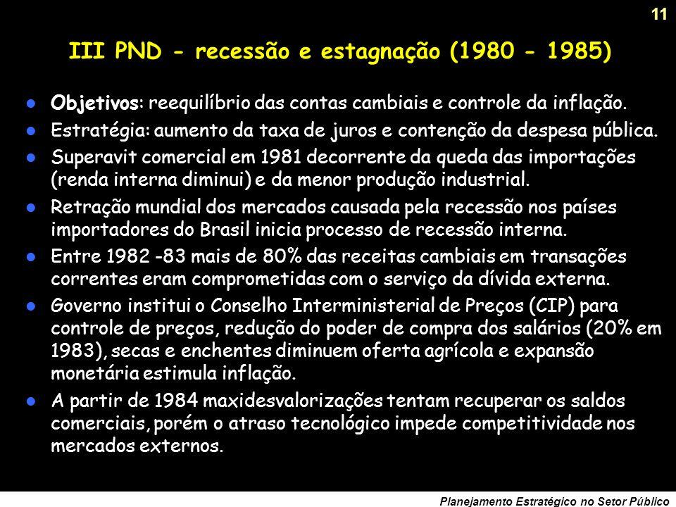 10 Planejamento Estratégico no Setor Público II PND – fim de um ciclo (1974 – 1977) Origens: inflação crescente (1974:15,5%, 1979: 77,2%), déficit comercial de US$ 6,5 bilhões, desajustes estruturais no setor de bens de capital.