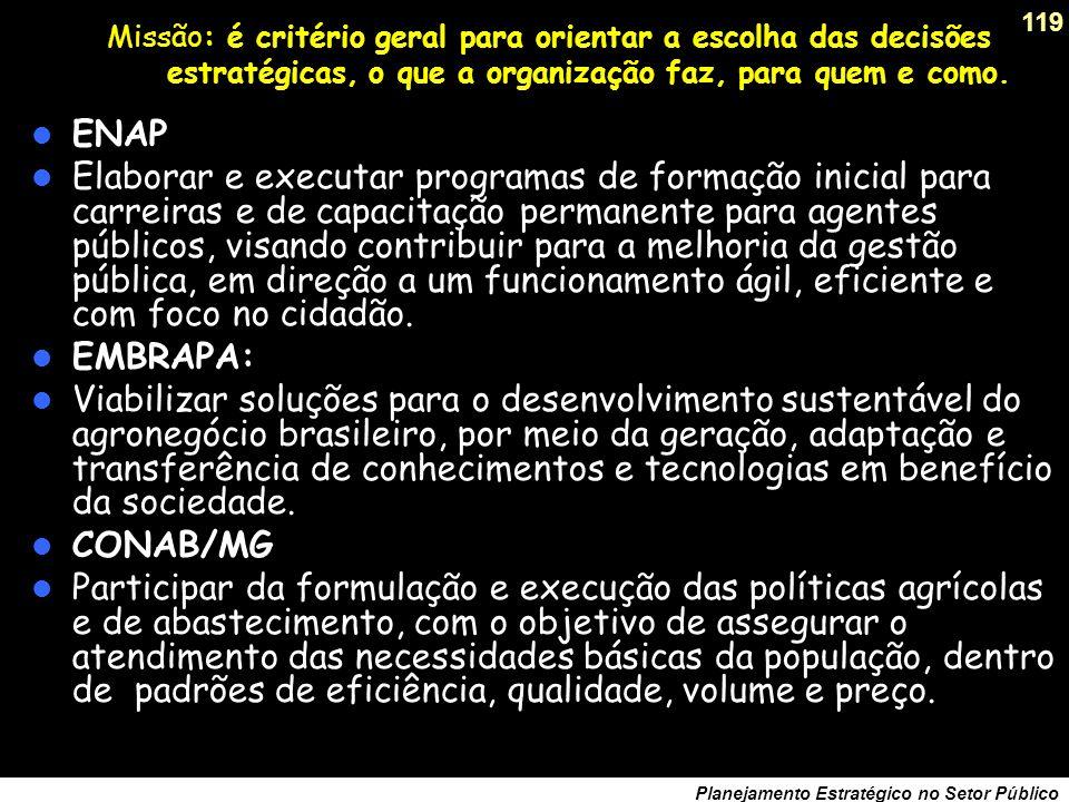118 Planejamento Estratégico no Setor Público Valores: elementos de motivação comportamental, exemplos... Banco do Estado do Rio Grande do Sul (BANRIS