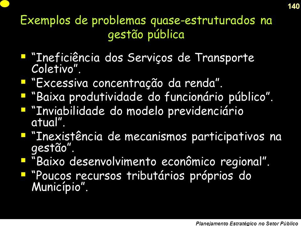 139 Planejamento Estratégico no Setor Público Devemos fazer a anamnese do problema, saber como surgiu e para onde vai..