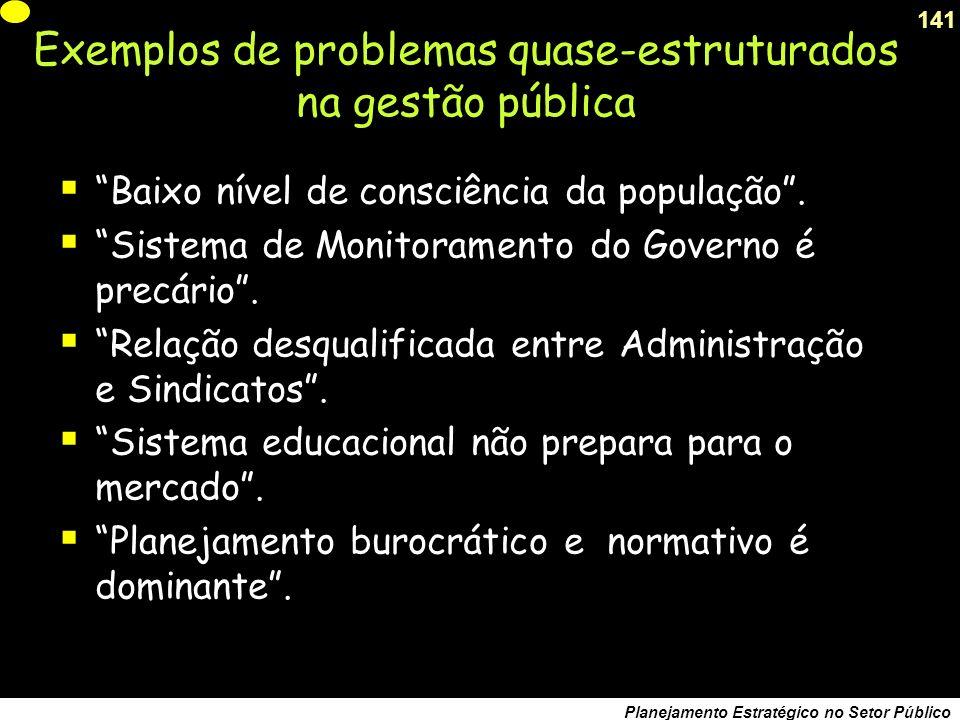 140 Planejamento Estratégico no Setor Público Exemplos de problemas quase-estruturados na gestão pública Ineficiência dos Serviços de Transporte Coletivo.