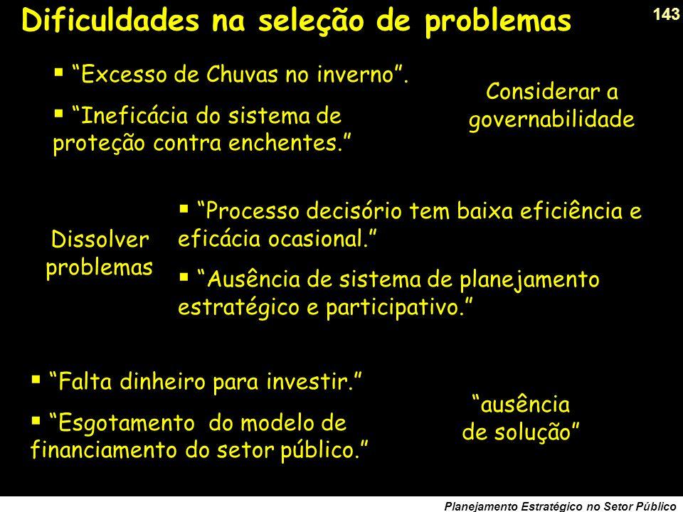 142 Planejamento Estratégico no Setor Público Dificuldades na seleção de problemas Insuficiente participação popular na administração pública. Perda d