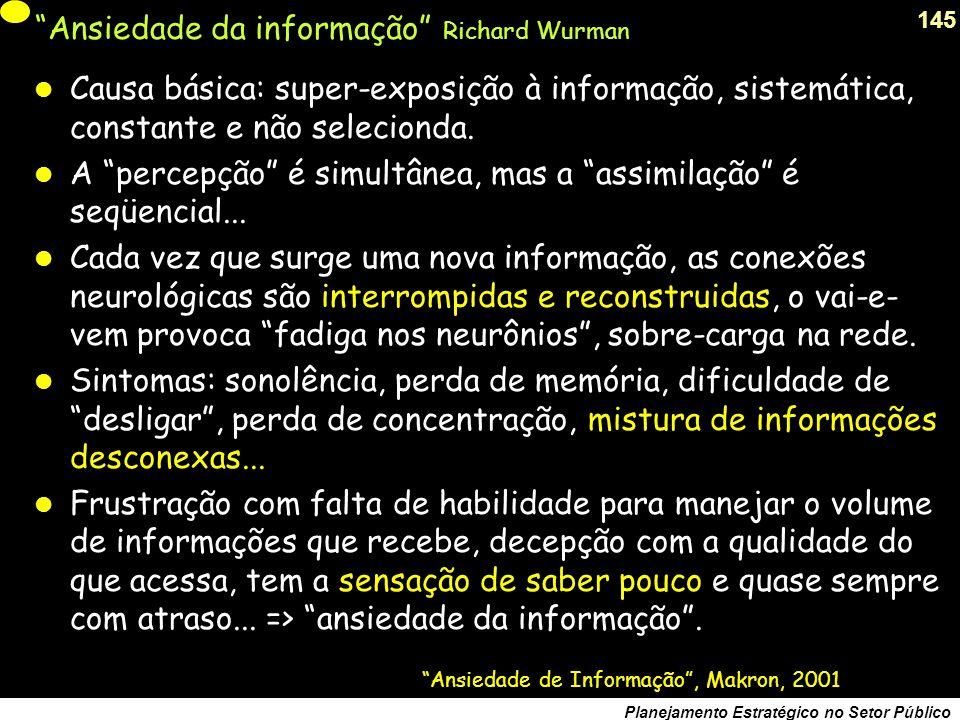144 Planejamento Estratégico no Setor Público REQUISITOS PARA A IDENTIFICAÇÃO DE UM PROBLEMA 1 - ATOR EXPRESSA INSATISFAÇÃO COM A REALIDADE 2 - AVALIA A INSATISFAÇAO COMO EVITÁVEL 3 - DECLARA QUE ESTÁ NO SEU ESPAÇO DE GOVERNABILIDADE COMO SE FORMULA UM PROBLEMA 1 - IDENTFIQUE UM PROBLEMA REAL 2- EXPRESSE-O DE FORMA CONCRETA E DELIMITIDA 3 – UM PROBLEMA NÃO É UMA FALTA DE SOLUÇÃO falta de dinheiro baixa capacidade de investimento salários atrasados do funcionalismo alto individamento