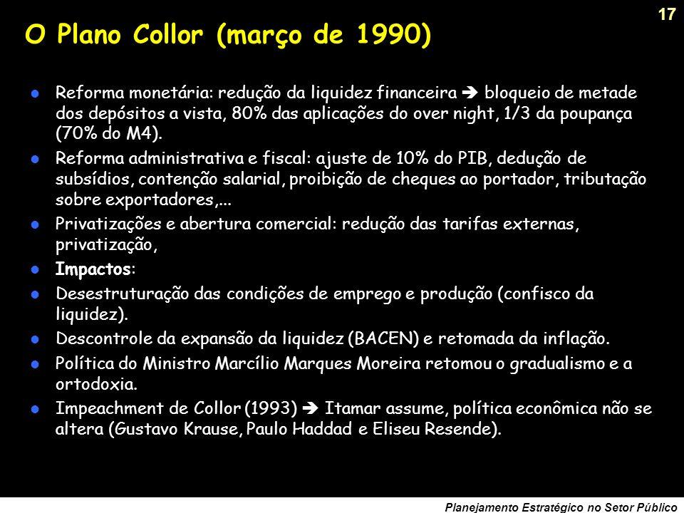 16 Planejamento Estratégico no Setor Público O Plano Verão (janeiro de 1989) Contenção da demanda via restrição de gastos públicos. Altos juros para e