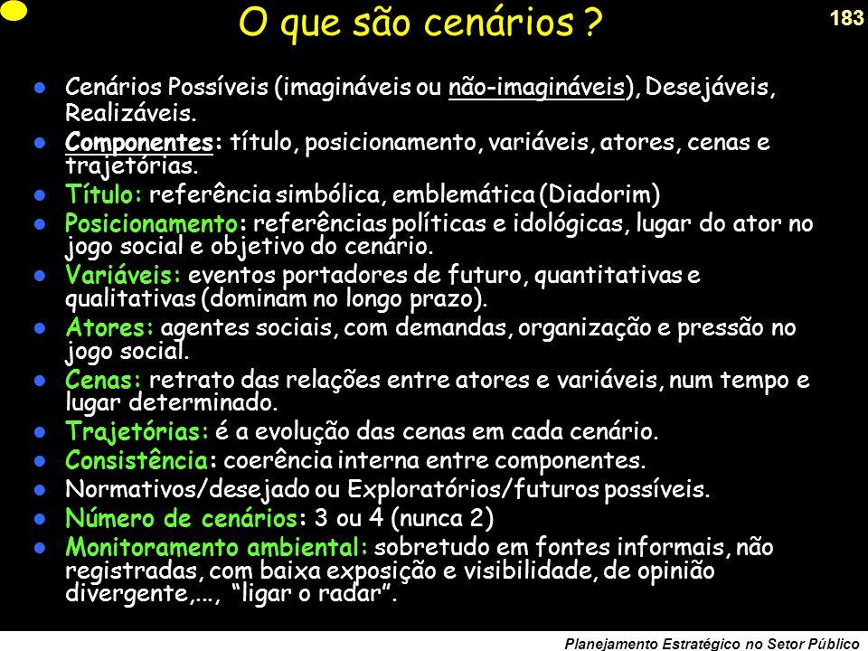 182 Planejamento Estratégico no Setor Público Cenários .