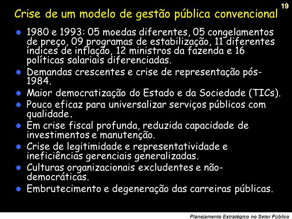 18 Planejamento Estratégico no Setor Público O Plano Real (1994) Fase I: ajuste fiscal para equacionar o desequilíbrio orçamentário, criação do IPMF (