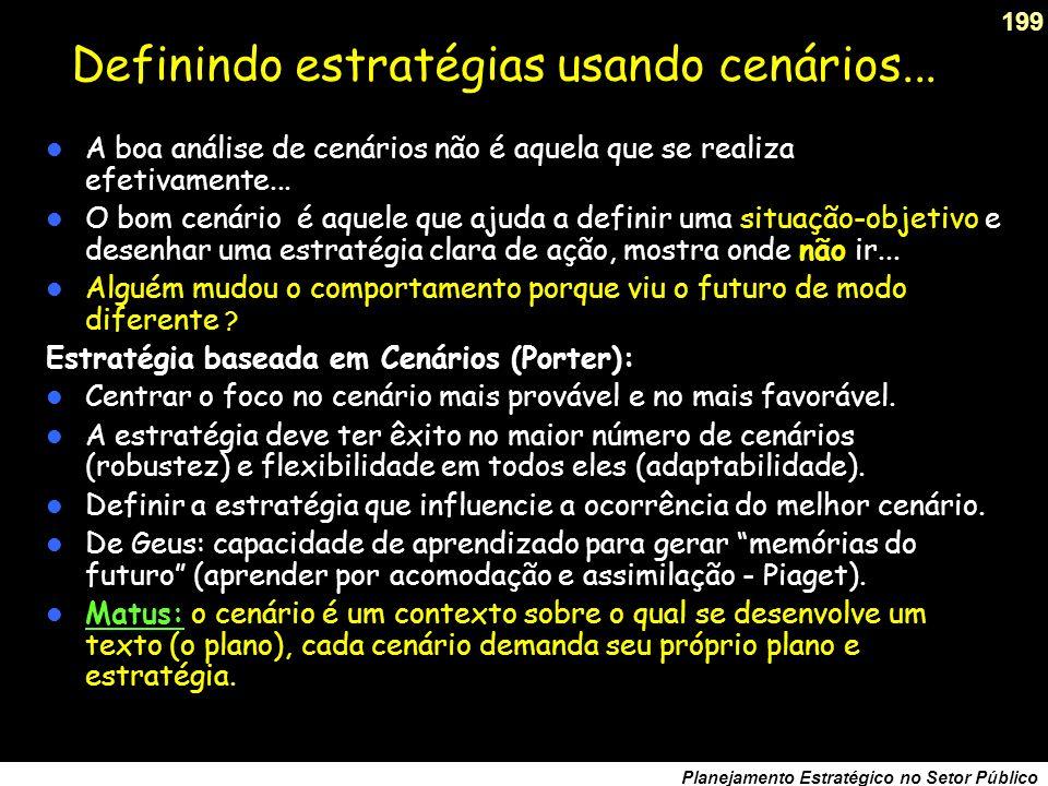 198 Planejamento Estratégico no Setor Público Evolução da prospectiva no Brasil Década de oitenta: BNDES, Eletronorte e Petrobrás são pioneiros. BNDES