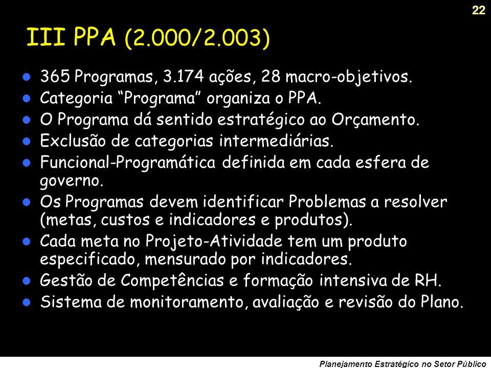 21 Planejamento Estratégico no Setor Público Projeto Brasil em Ação Lançado em Agosto de 1996: estudo dos Eixos Nacionais de Integração e Desenvolvimento.