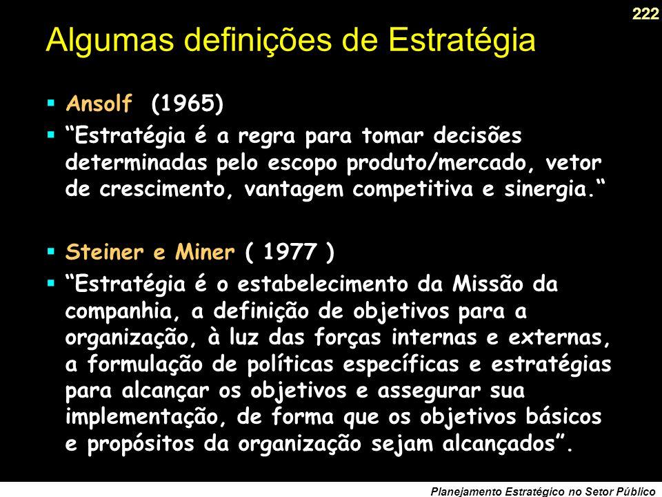 221 Planejamento Estratégico no Setor Público Algumas definições de Estratégia Peter Drucker (1954) Estratégia é a análise da situação presente e a su