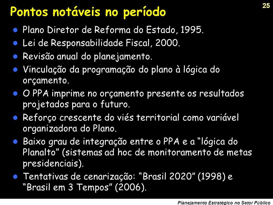 24 Planejamento Estratégico no Setor Público As limitações do Planejamento Plurianual O PPA contempla toda programação do governo, isto reduz seu manejo e operacionalidade.