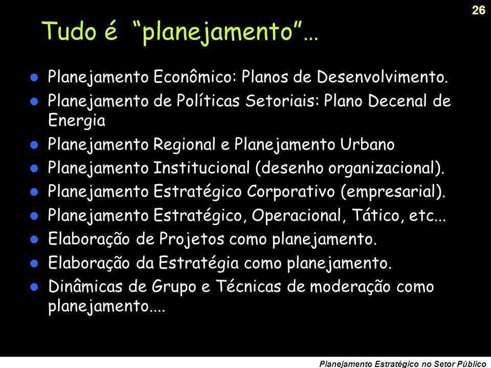 25 Planejamento Estratégico no Setor Público Pontos notáveis no período Plano Diretor de Reforma do Estado, 1995.