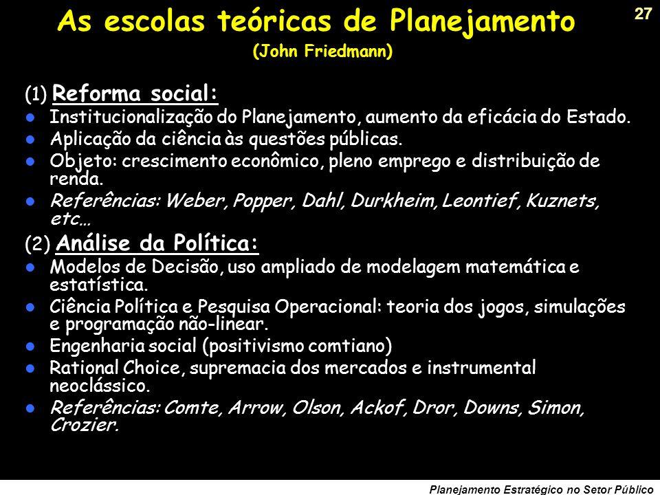 26 Planejamento Estratégico no Setor Público Tudo é planejamento… Planejamento Econômico: Planos de Desenvolvimento. Planejamento de Políticas Setoria