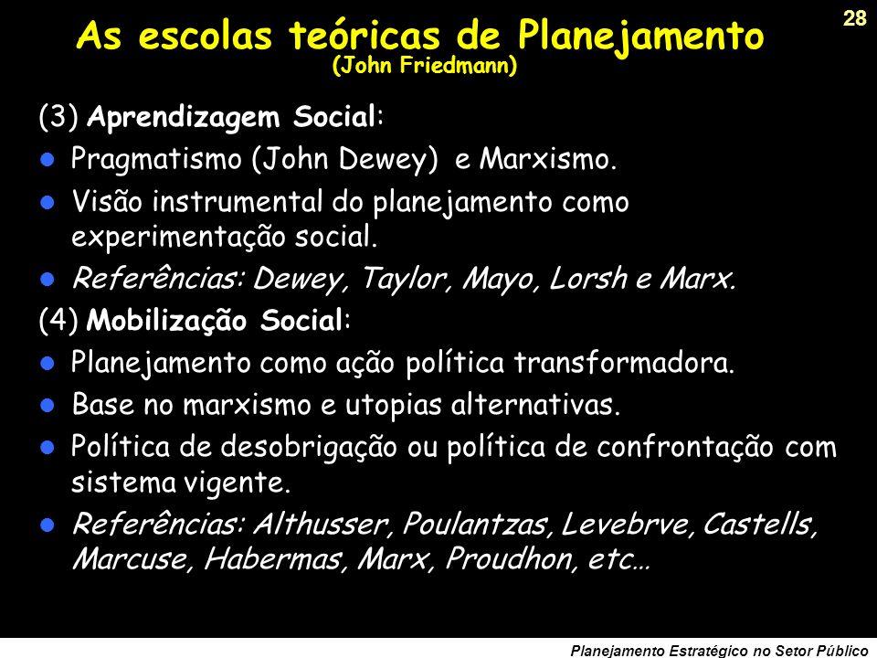 27 Planejamento Estratégico no Setor Público As escolas teóricas de Planejamento (John Friedmann) (1) Reforma social: Institucionalização do Planejame