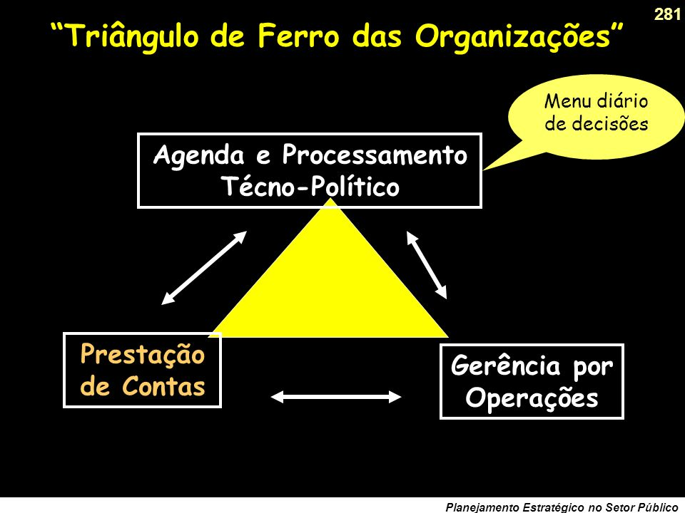 280 Planejamento Estratégico no Setor Público O Plano só se completa na ação A execução de uma estratégia demanda uma organização estável.