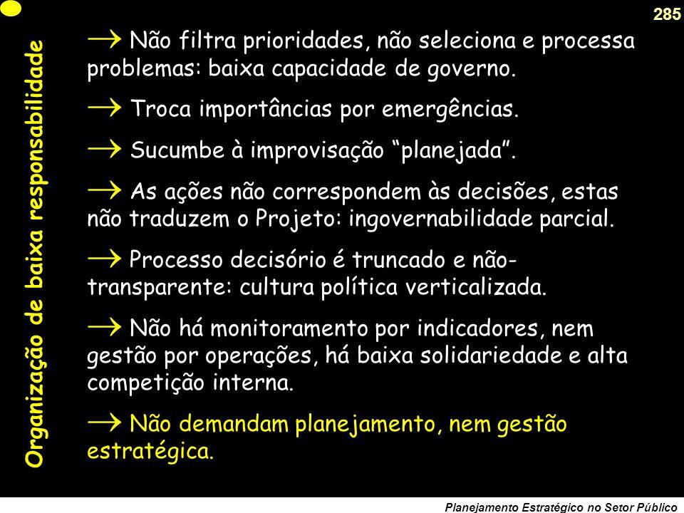 284 Planejamento Estratégico no Setor Público As 5 regras do jogo macro-organizativo (a) Direcionalidade: respondem pelo padrão político- ideológico, selecionam missões e demandas.
