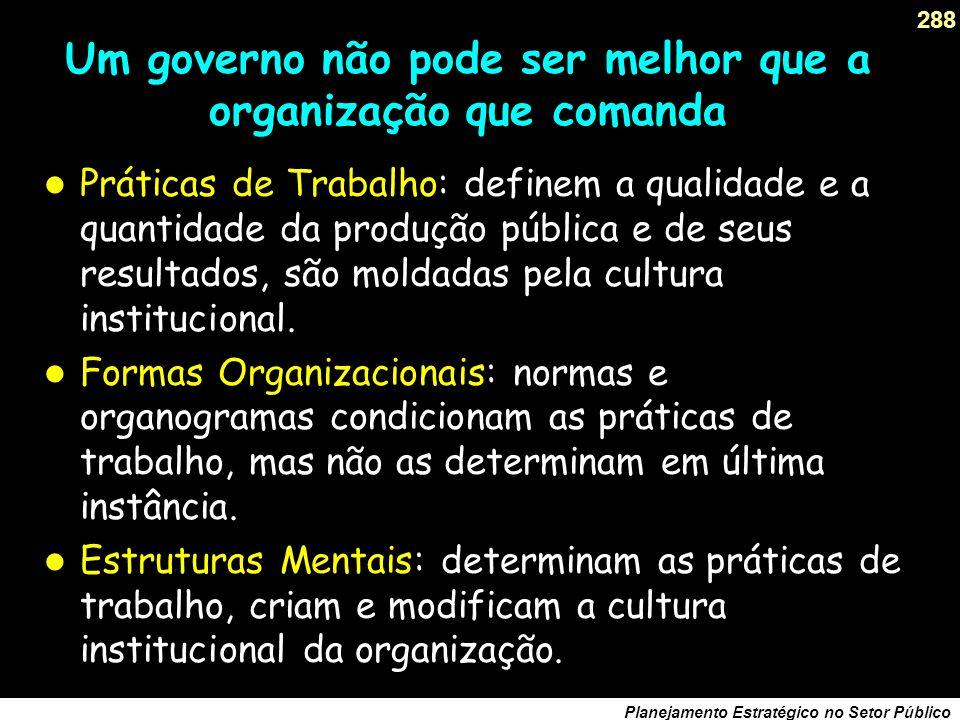 287 Planejamento Estratégico no Setor Público As consequências... O barbarismo político, próprio do populismo, consiste em departamentalizar a eficáci