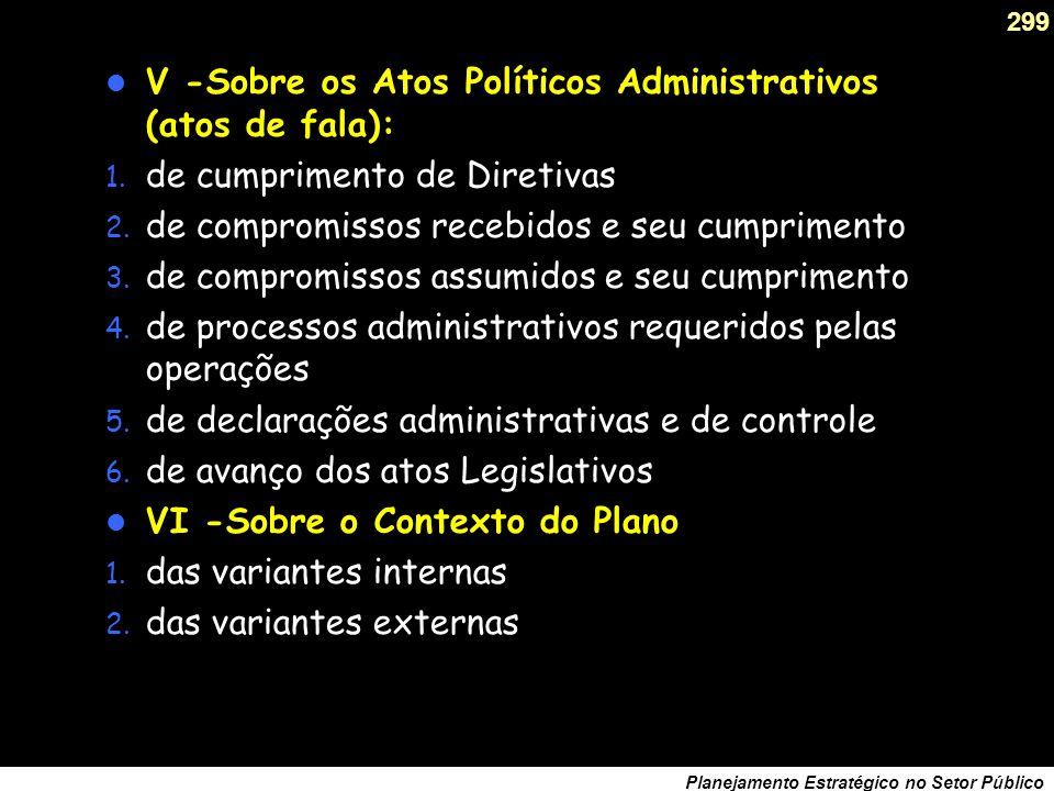 298 Planejamento Estratégico no Setor Público III -Sobre o Resultado das Operações: 1.