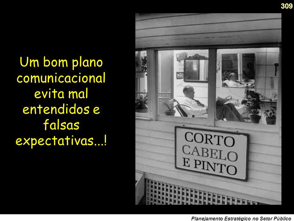 308 Planejamento Estratégico no Setor Público 7ª Prova: de eficácia comunicacional O Plano abrange sua comunicação? 1. Desenhou-se um plano de comunic