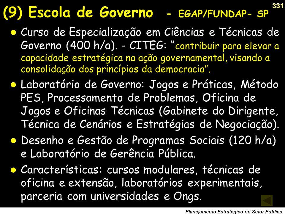 330 Planejamento Estratégico no Setor Público Ferramenta básica para elevar a capacidade de governo. Forma um novo profissional tecnopolítico, especia