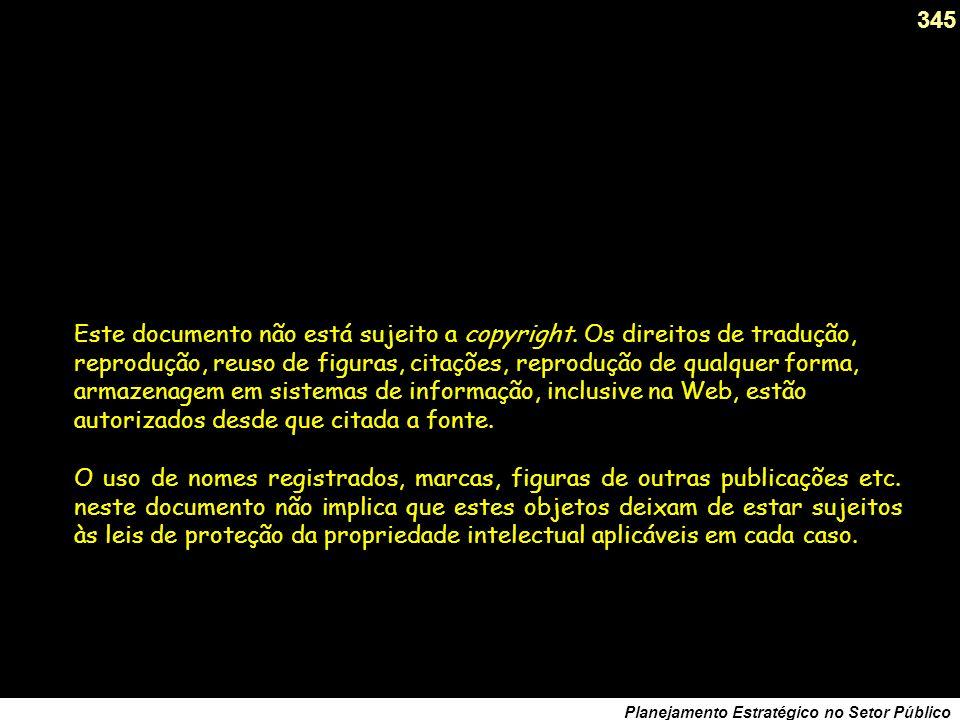 344 Planejamento Estratégico no Setor Público Principais livros de Carlos Matus (1993) Política, Planejamento & Governo (TOMOS I e II), IPEA, Ministér