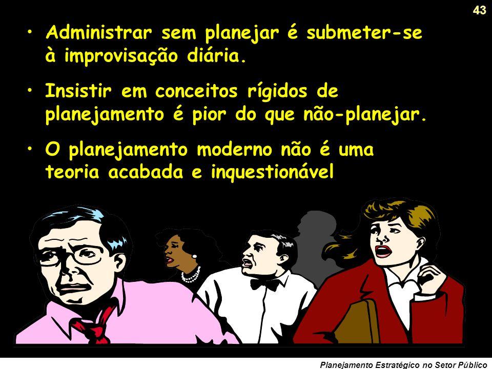 42 Planejamento Estratégico no Setor Público História recente do planejamento... Como está o Planejamento de Governo hoje ? Desprestígio e perda de es
