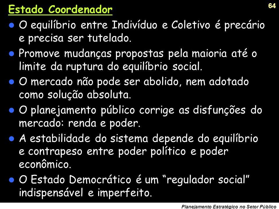 63 Planejamento Estratégico no Setor Público Estado Proprietário: A dimensão individual é relativa diante da dimensão coletiva. A propriedade privada