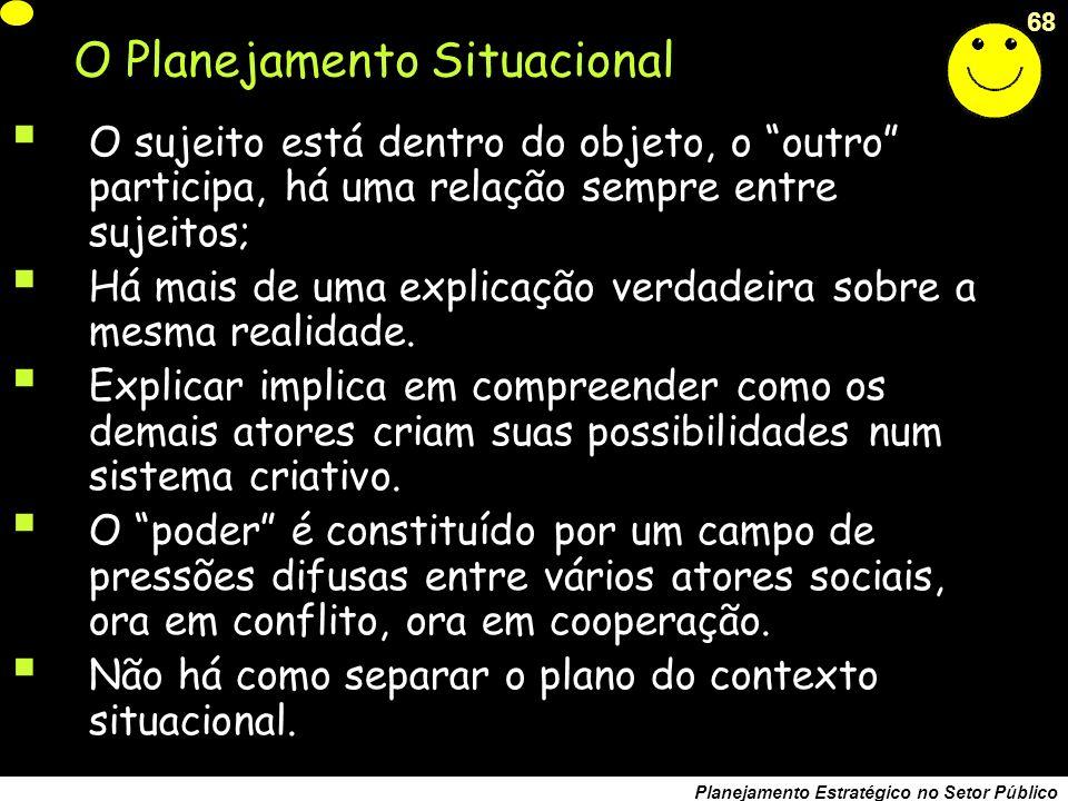 67 Planejamento Estratégico no Setor Público O propósito real do planejamento efetivo não é fazer planos, mas mudar os modelos mentais que os tomadores de decisão carregam em suas cabeças Arie de Geus