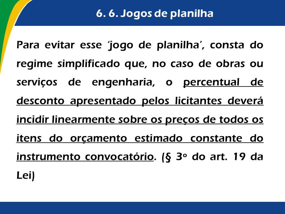 6. 6. Jogos de planilha Para evitar esse jogo de planilha, consta do regime simplificado que, no caso de obras ou serviços de engenharia, o percentual