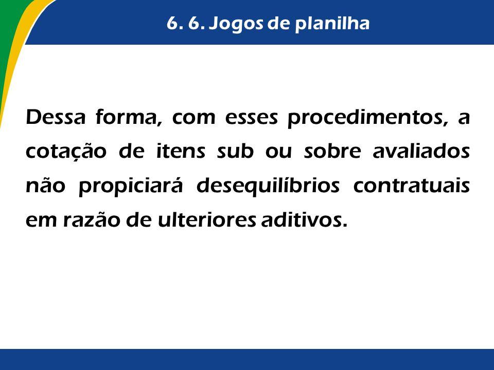 6. 6. Jogos de planilha Dessa forma, com esses procedimentos, a cotação de itens sub ou sobre avaliados não propiciará desequilíbrios contratuais em r