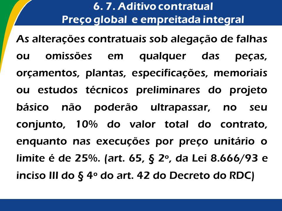 6. 7. Aditivo contratual Preço global e empreitada integral As alterações contratuais sob alegação de falhas ou omissões em qualquer das peças, orçame