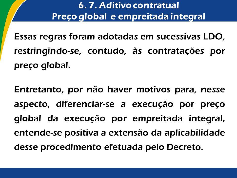 Essas regras foram adotadas em sucessivas LDO, restringindo-se, contudo, às contratações por preço global. Entretanto, por não haver motivos para, nes