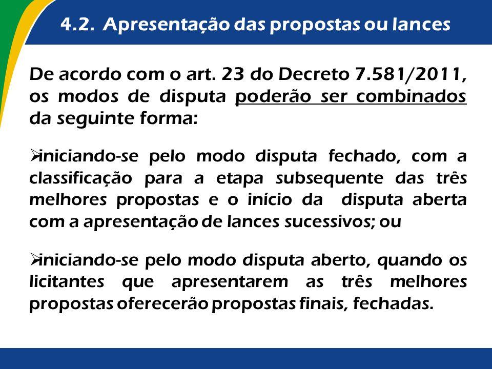 4.2. Apresentação das propostas ou lances De acordo com o art. 23 do Decreto 7.581/2011, os modos de disputa poderão ser combinados da seguinte forma:
