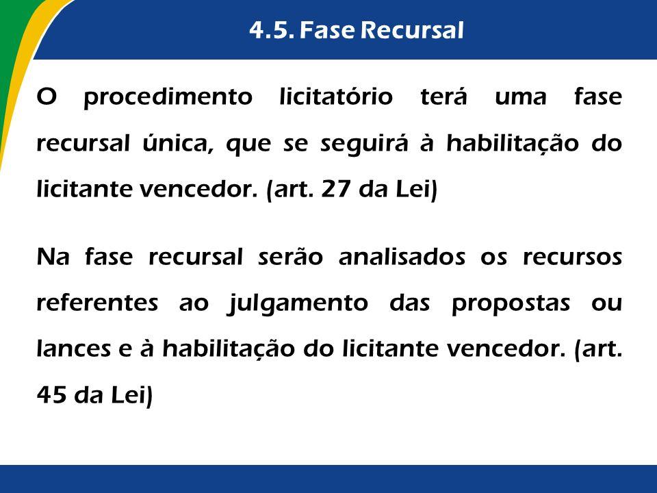 4.5. Fase Recursal O procedimento licitatório terá uma fase recursal única, que se seguirá à habilitação do licitante vencedor. (art. 27 da Lei) Na fa