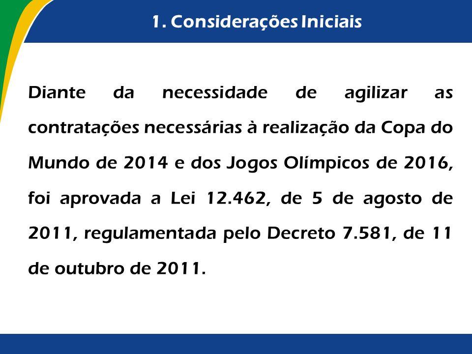 1. Considerações Iniciais Diante da necessidade de agilizar as contratações necessárias à realização da Copa do Mundo de 2014 e dos Jogos Olímpicos de