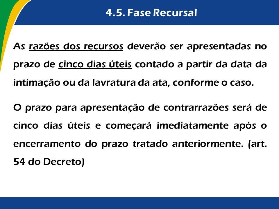 4.5. Fase Recursal As razões dos recursos deverão ser apresentadas no prazo de cinco dias úteis contado a partir da data da intimação ou da lavratura