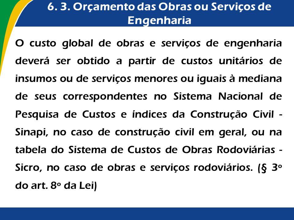 6. 3. Orçamento das Obras ou Serviços de Engenharia O custo global de obras e serviços de engenharia deverá ser obtido a partir de custos unitários de