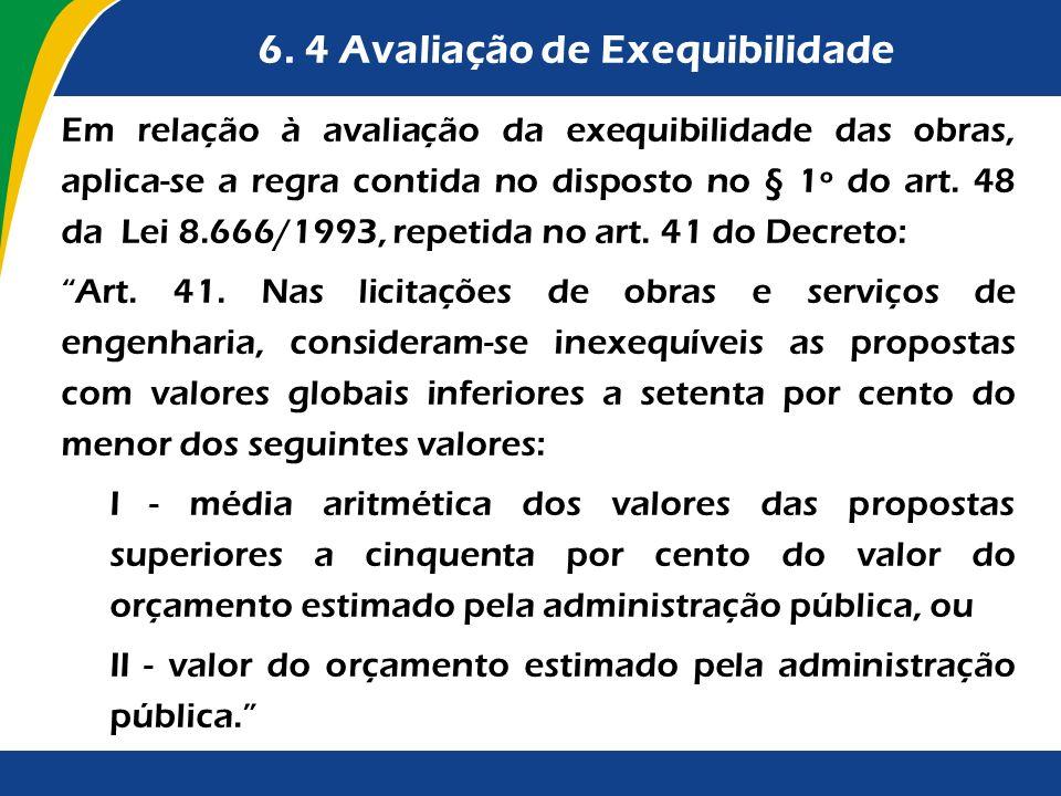 6. 4 Avaliação de Exequibilidade Em relação à avaliação da exequibilidade das obras, aplica-se a regra contida no disposto no § 1º do art. 48 da Lei 8