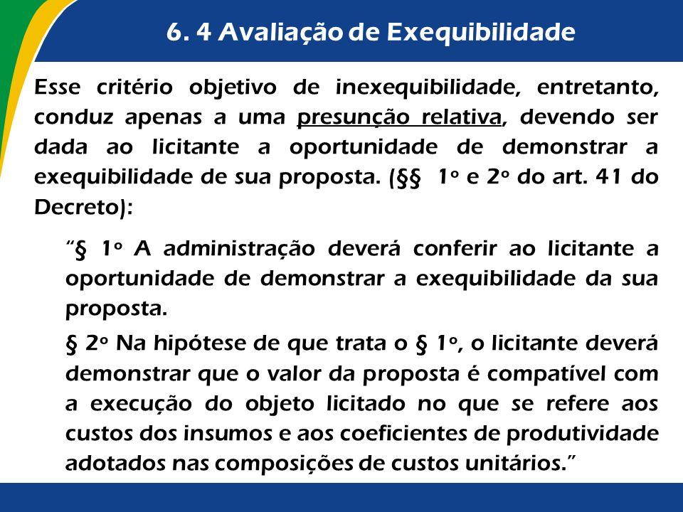 6. 4 Avaliação de Exequibilidade Esse critério objetivo de inexequibilidade, entretanto, conduz apenas a uma presunção relativa, devendo ser dada ao l