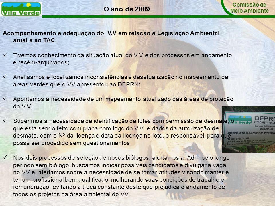 Acompanhamento e adequação do V.V em relação à Legislação Ambiental atual e ao TAC: Tivemos conhecimento da situação atual do V.V e dos processos em a
