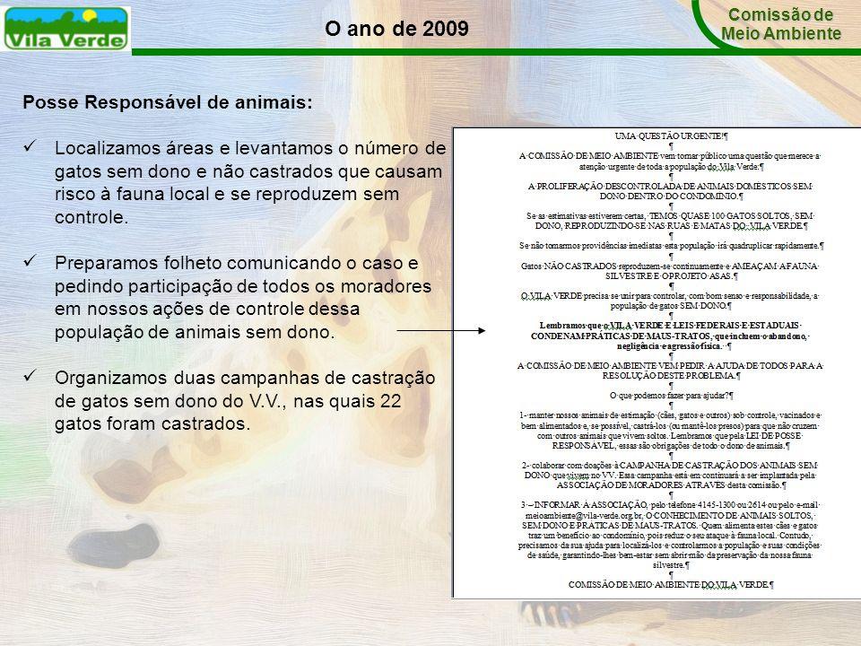 O ano de 2009 Comissão de Meio Ambiente Posse Responsável de animais: Localizamos áreas e levantamos o número de gatos sem dono e não castrados que ca